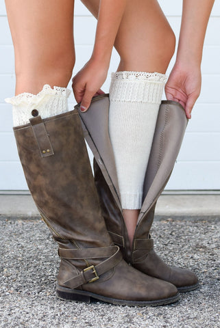 Cream Lace Button Down Boot Cuffs