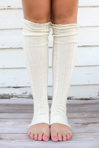 Ivory Thigh High Solid Leg Warmers