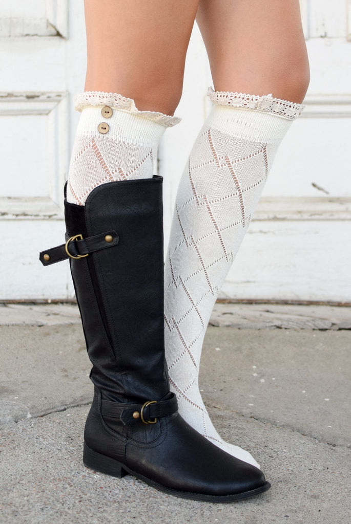 Cream Over-the-Knee Antique Lace and Button Boot Socks