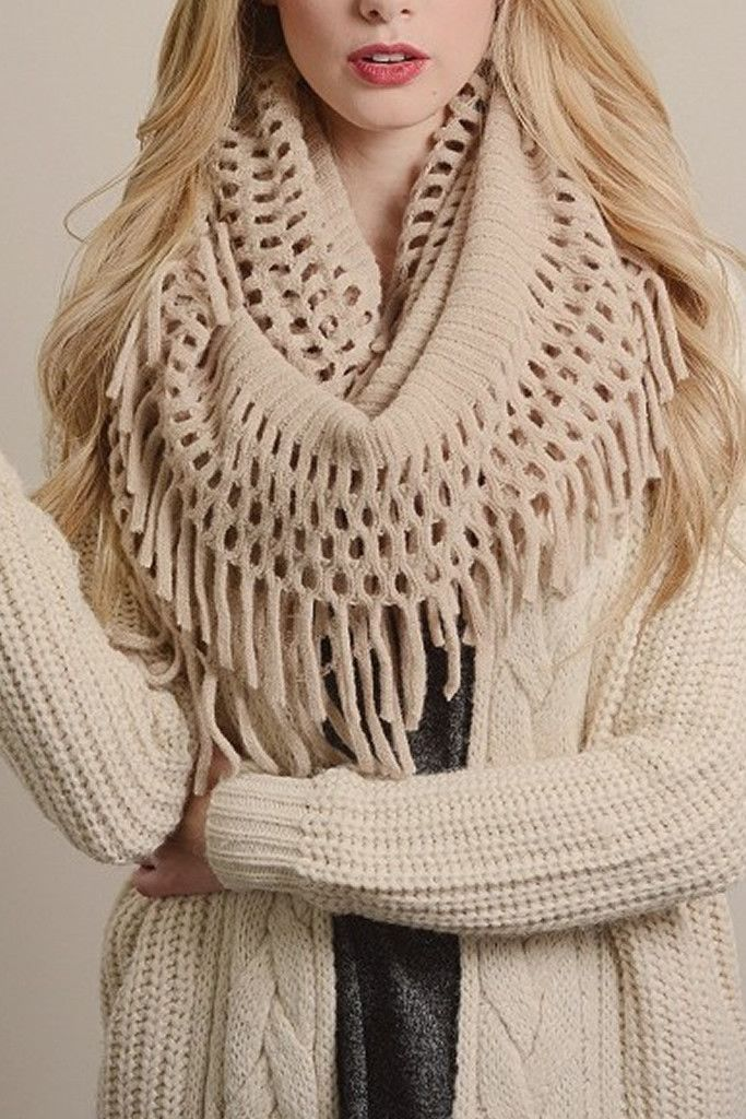 Ivory Chenille Tassel Infinity Scarf