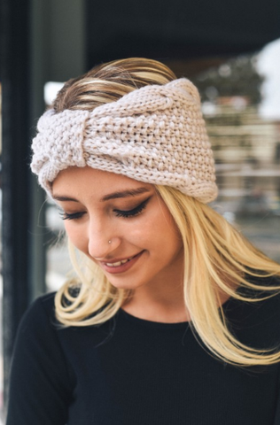 Ivory Rolled Bow Knit Winter Headband **NEW**