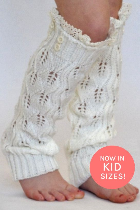 Kids Off White Knitted Leg Warmers with Lace Trim