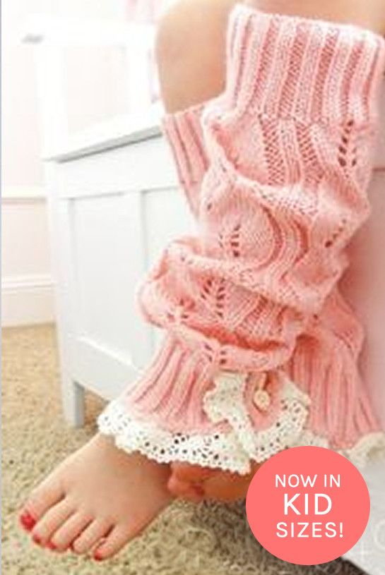 Kids Pink Knitted Leg Warmers with Lace Trim