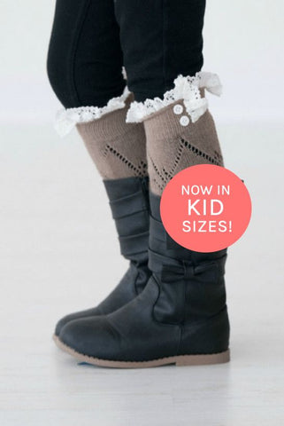 Kids Chocolate Boot Socks with Lace Trim