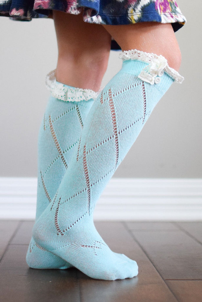 Kids Aqua Boot Socks with Lace Trim *New*