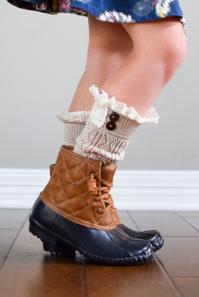 Kids Beige Leg Warmers with Crochet Top