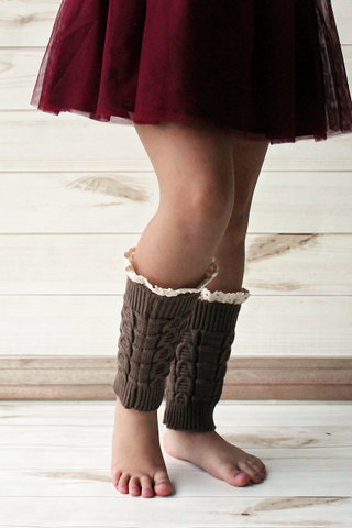 Kids Brown Knitted Leg Warmers with Lace Trim