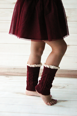 Kids Burgundy Knitted Leg Warmers With Lace Trim