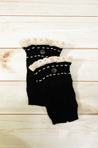 Kids Black One Button Leg Warmers