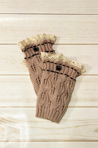 Kids Mocha One Button Leg Warmers **NEW**