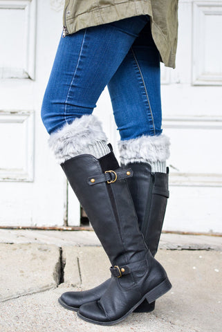 Alaska-Inspired Grey Boot Cuffs with Fur Topper