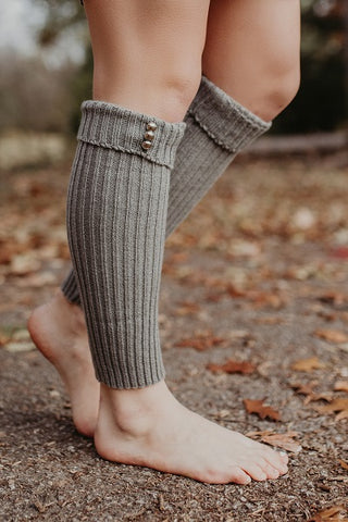 Ribbed Legwarmers with Accent Buttons