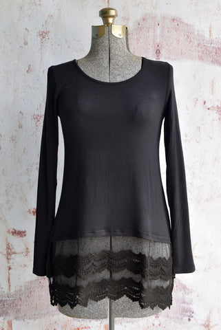 Black Long Sleeve Lace Top Extender