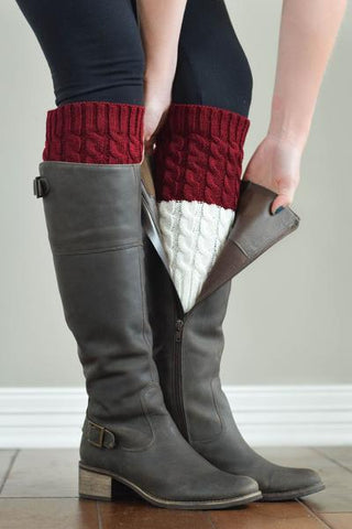 Merlot and Ivory Reversible Knitted Boot Cuffs
