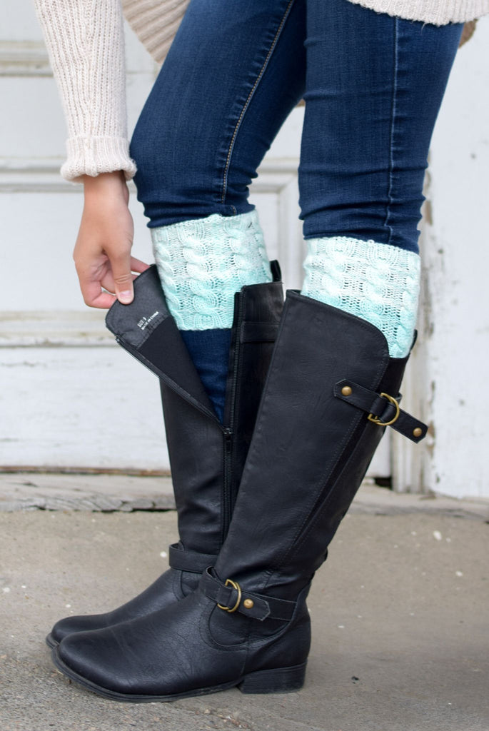 Mint Peppered Reversible Ombre Boot Cuff