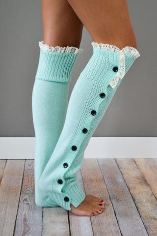 Mint Button Down Leg Warmers with Lace Trim