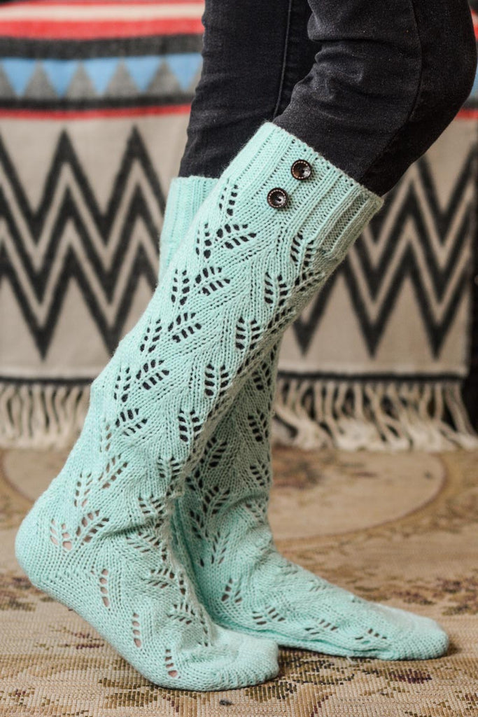 Mint Knit Boot Sock with Buttons (NEW)