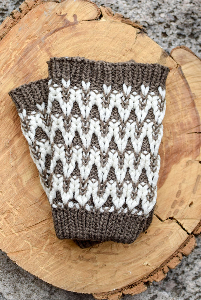 Mocha & White Knit Running Springs Boot Cuffs *New*
