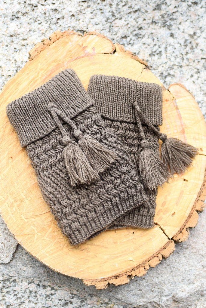 Mocha Telluride Tassel Knit Boot Cuffs *New*