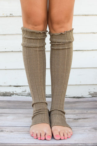 Mocha Thigh High Solid Leg Warmers