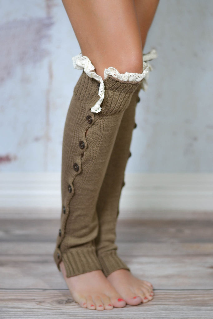 Mocha Lace Button Down Boot Cuffs