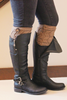 Mocha Twist Button Boot Cuffs