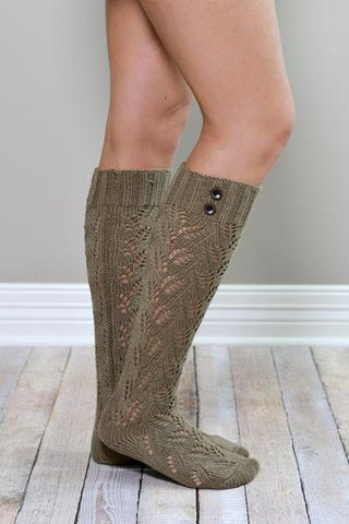 Mocha Knit Boot Sock with Buttons