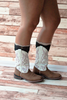 Latte & Black Lace Layered Boot Cuffs