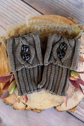Mocha Two Button Boot Cuffs