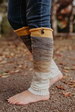 Mustard Multi-colored Leg Warmers