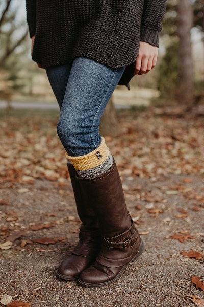 Mustard Multi-colored Leg Warmers - NEW for 2018!