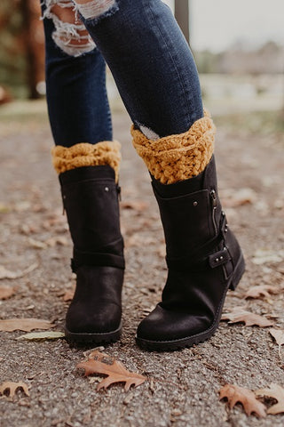 Mustard Scalloped Lace Boot Cuffs - Handmade
