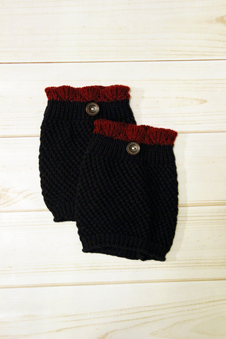 Crocheted Navy Boot Cuff with Merlot Top
