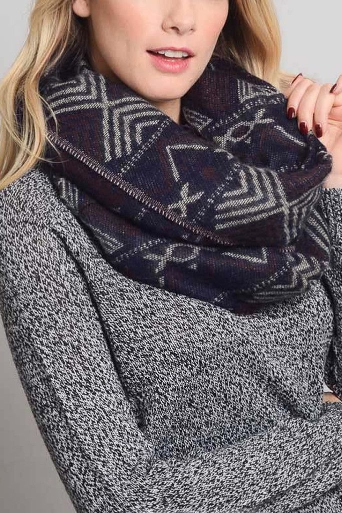Navy Soft Tribal Blanket Infinity Scarf