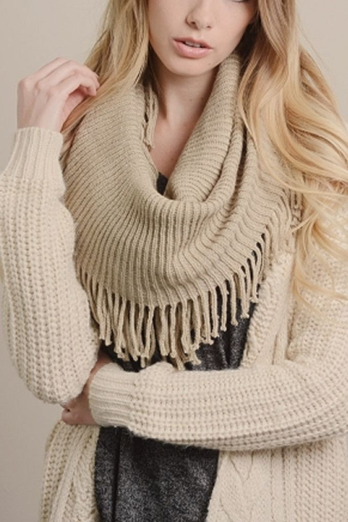 Oatmeal Ribbed Infinity with Fringe Scarf