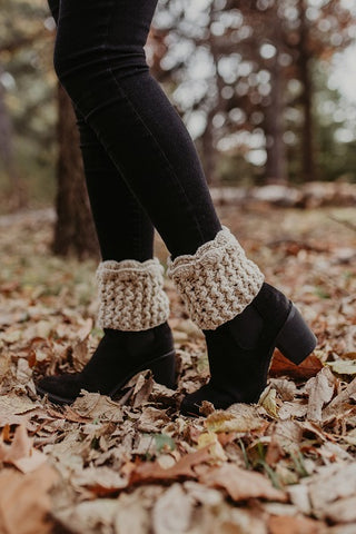 Oatmeal Scallop Laced Boot Cuff - Handmade