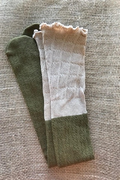 Olive and Tan Slouchy Two Toned Boot Socks