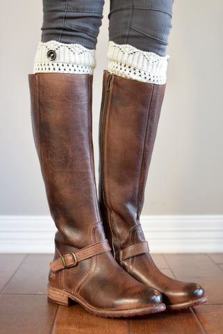 Cream Crochet One Button Boot Cuffs