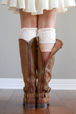 Peaches & Cream Two-Layer Reversible Lace Boot Cuffs (*NEW*)