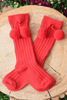 Baby & Kids Red Bouncing Pom Pom Socks