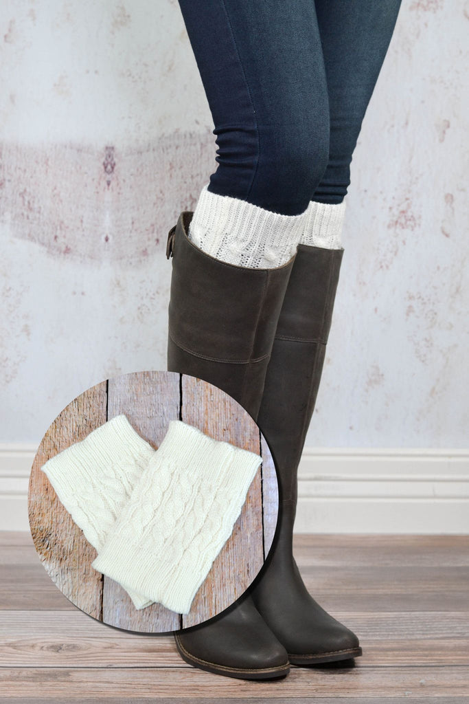 Ivory Cable Knit Boot Cuffs