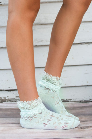 Mint Lace Ankle Socks