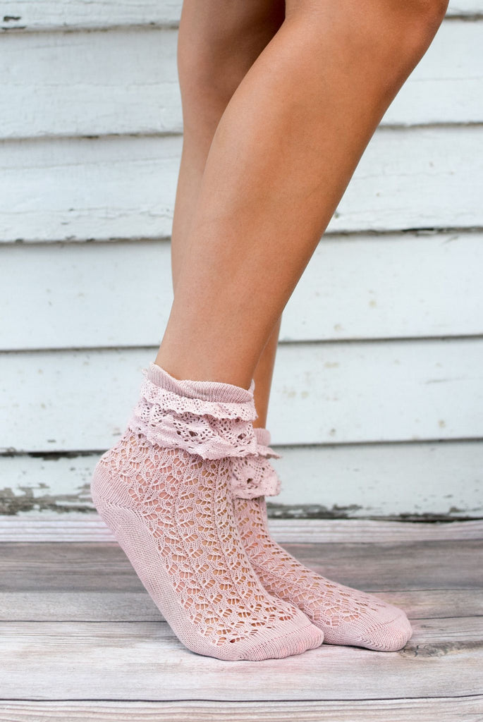 Rose Ruffle Lace Anklet Sock