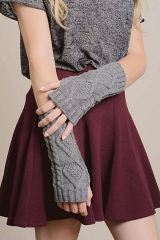 Grey Diamond Cable Knit Arm Warmers