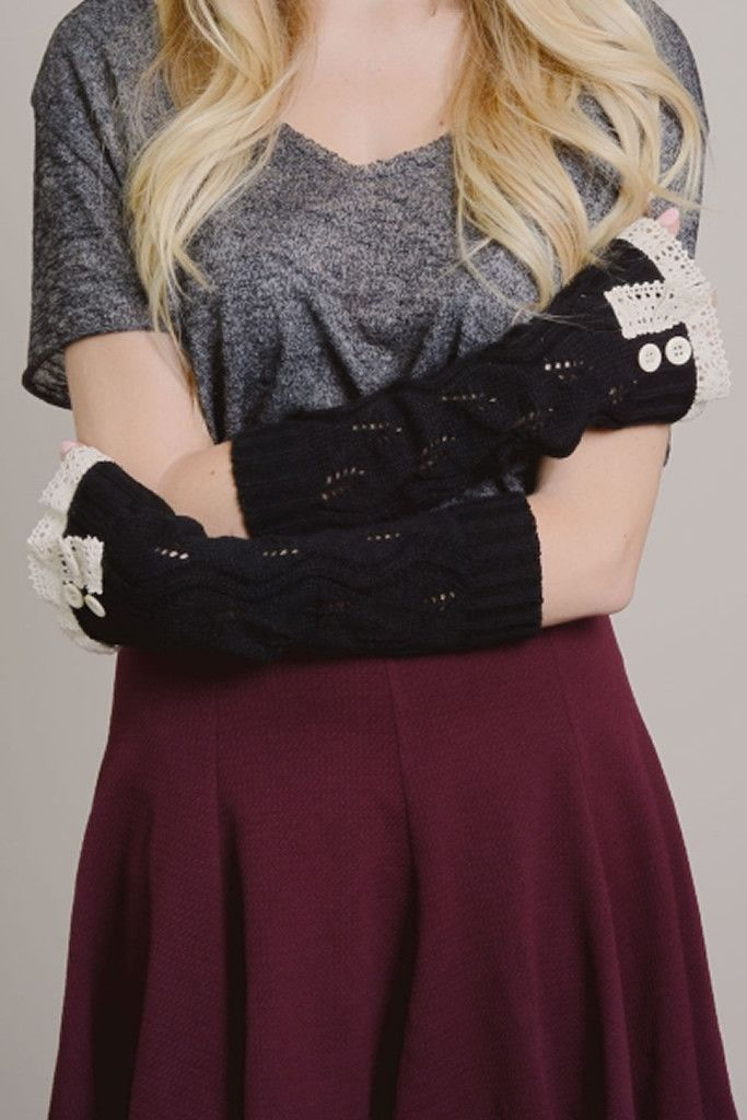 Black Lace Trim Arm Warmers