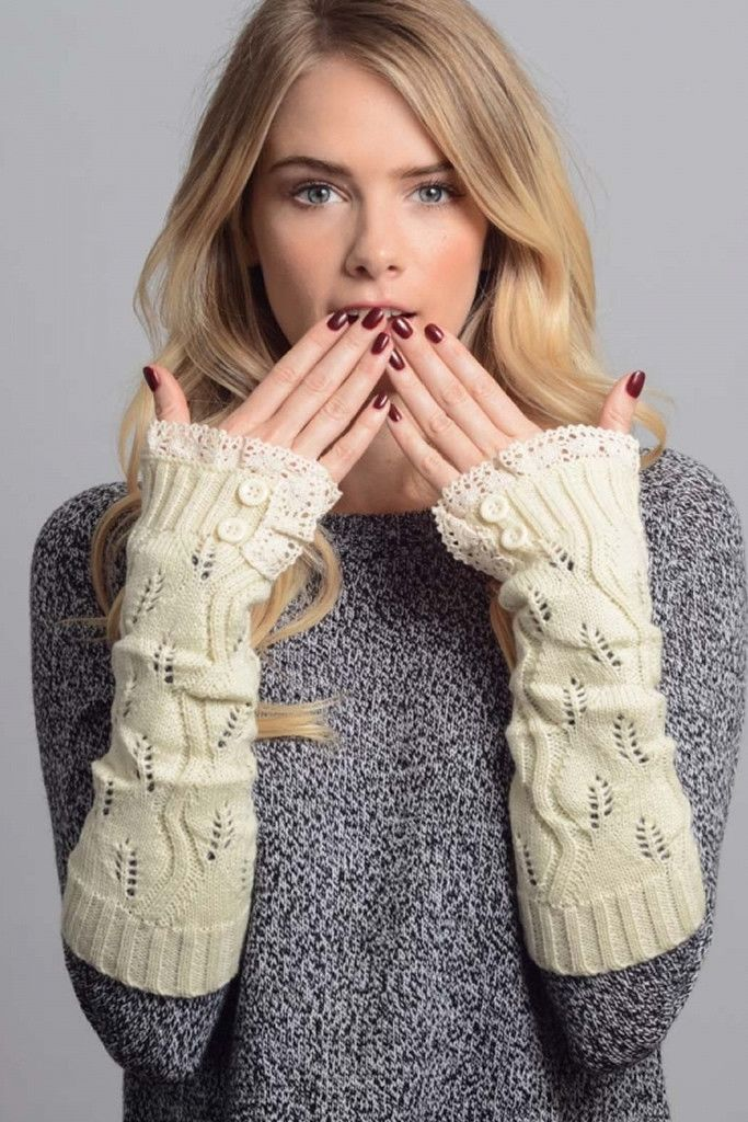 Ivory Lace Trim Arm Warmers