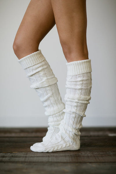 Cream Diamond Cable Knit Boot Socks Fast Free Shipping