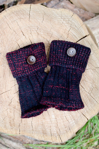 Alpine Peppered Burgundy Button Boot Cuffs *NEW*
