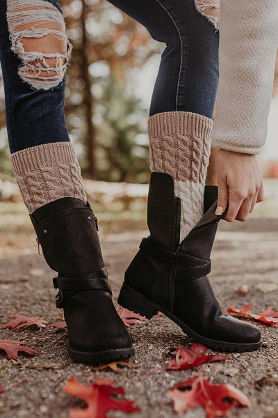 Tan and Ivory Reversible Knitted Boot Cuffs