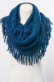 Teal Chenille Tassel Infinity Scarf